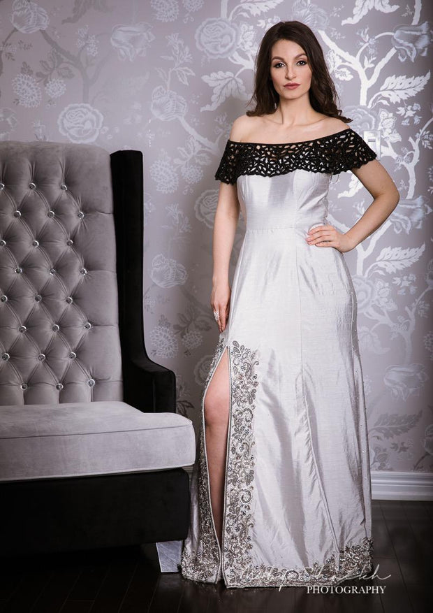 Off Shoulder Silver Grey Raw Silk Gown