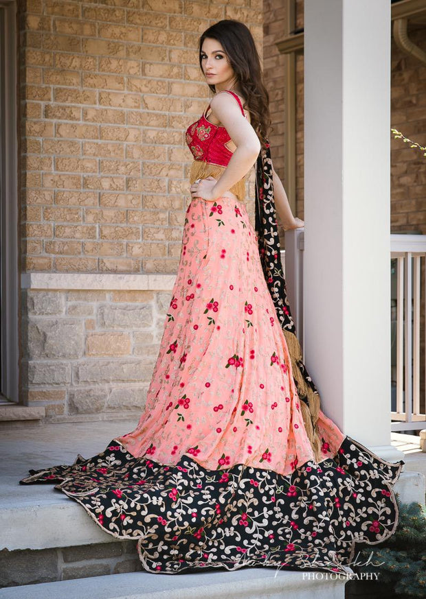 Floral Red Crop Top with Pink Lehenga