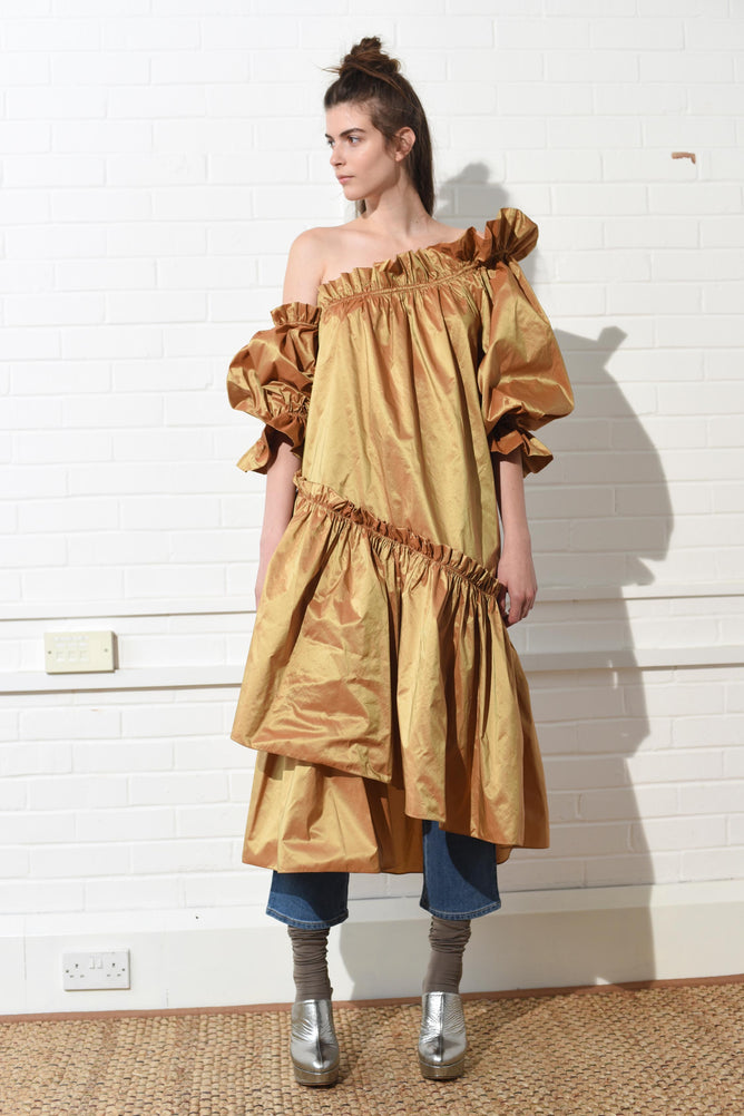 Decadence Dress Mustard Gold
