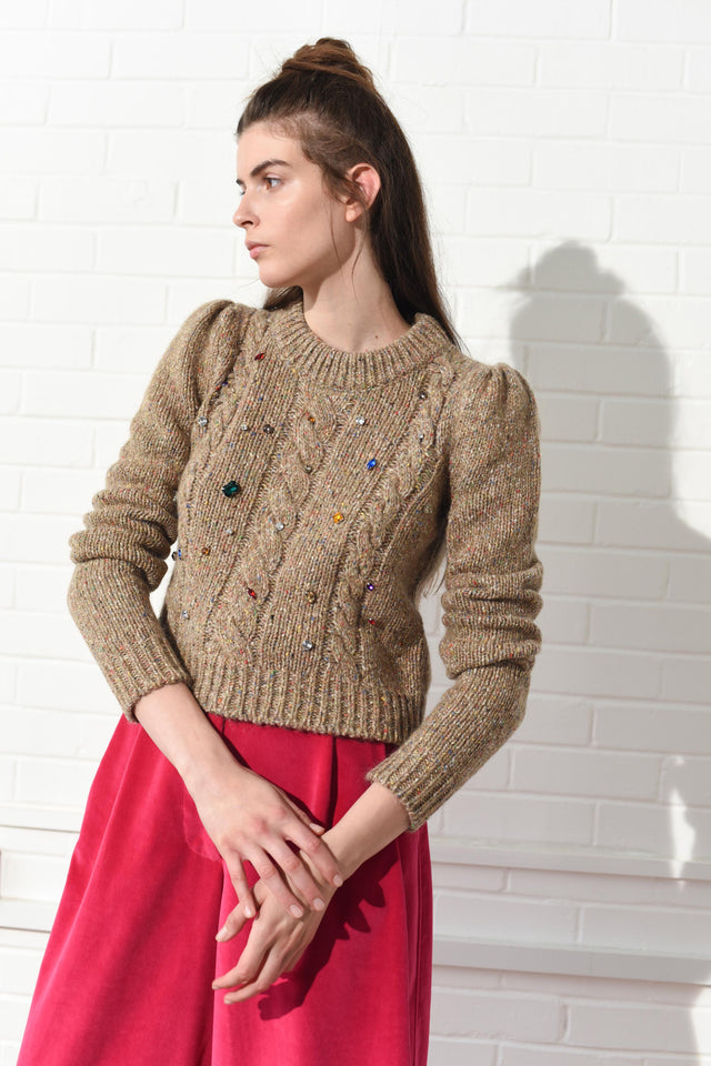 Cable Knit Jumper with Crystals