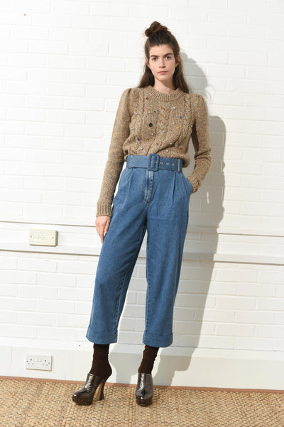 Denim Belted Trouser