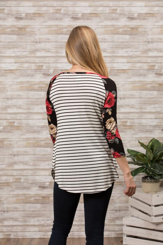 Elbow Baseball Tee - Floral Stripe