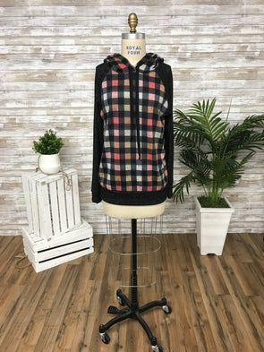 Multicolored Plaid Hacci Brushed Long Sleeve Hoodie