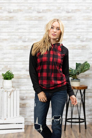 Plaid Hacci Brushed Long Sleeve Hoodie