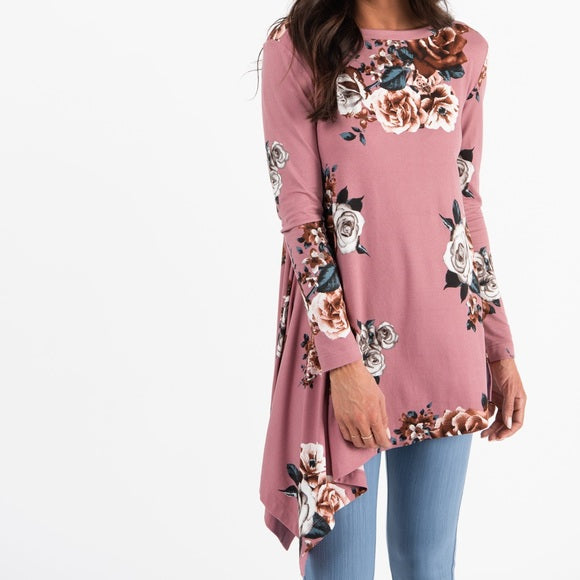 Asymetrical Tunic Small Floral