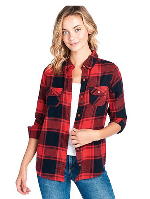 Ladies Plaid Flannel Long Sleeve Button Shirts