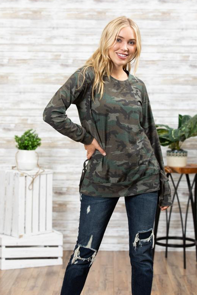 Camouflage Sweatshirt with Side Ties