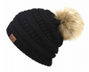 C.C. Solid Ribbed Faux Fur Pom Beanie