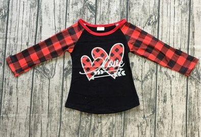 Girl's Raglan Sleeve Valentine's Day
