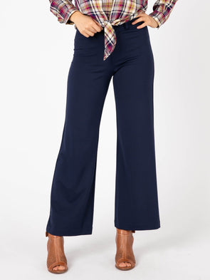 Wide Leg Trousers Small Navy