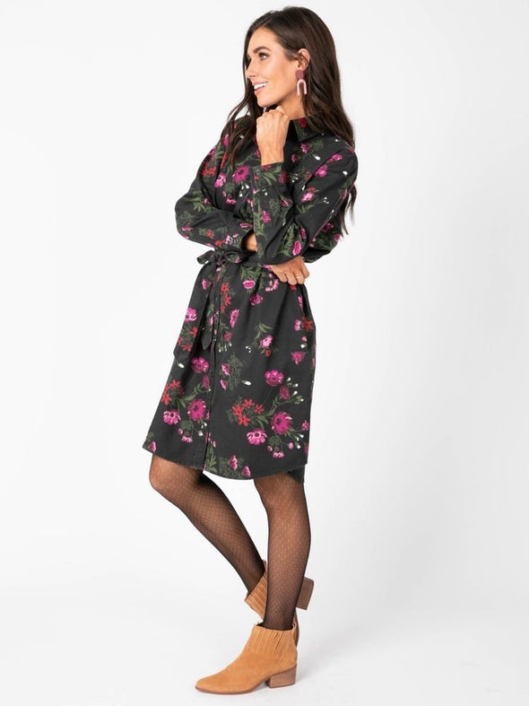 Flannel Shirt Dress Large Floral