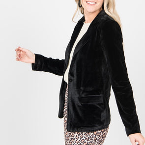 Velvet Stretch Blazer XXXL Black