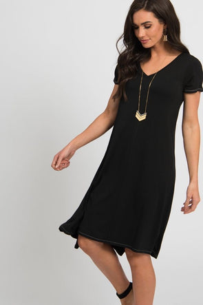 Vneck Hi Lo Dress Small Black