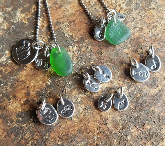 Sea Glass and Sterling Silver Charm Necklaces: Friday, April 23rd 5 - 8pm with Poppy Beach Jewelry