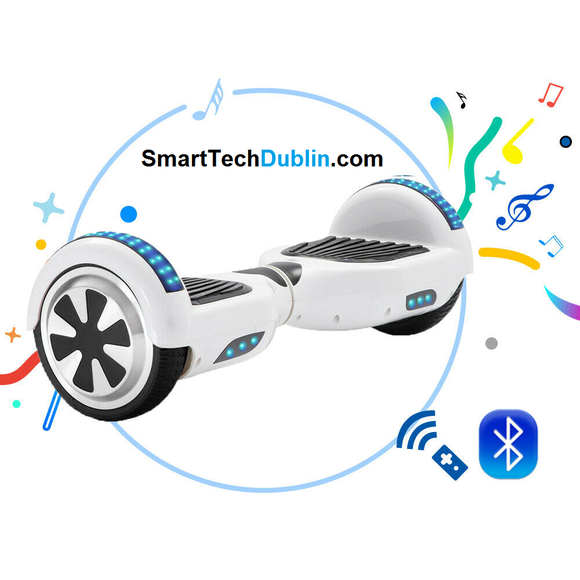 white Smart Hoverboard + Bluetooth + L.E.D Light + L.E.D wheels