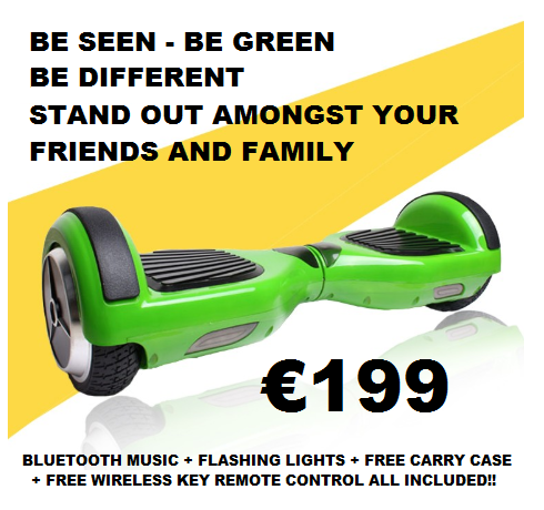 Green Smart Hoverboard + Bluetooth + Remote + Flashing L.E.D Lights