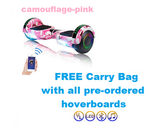 Camo- Pink Hoverboard + Carry Bag + Bluetooth +Remote + Flashing LED Lights + LED Wheels