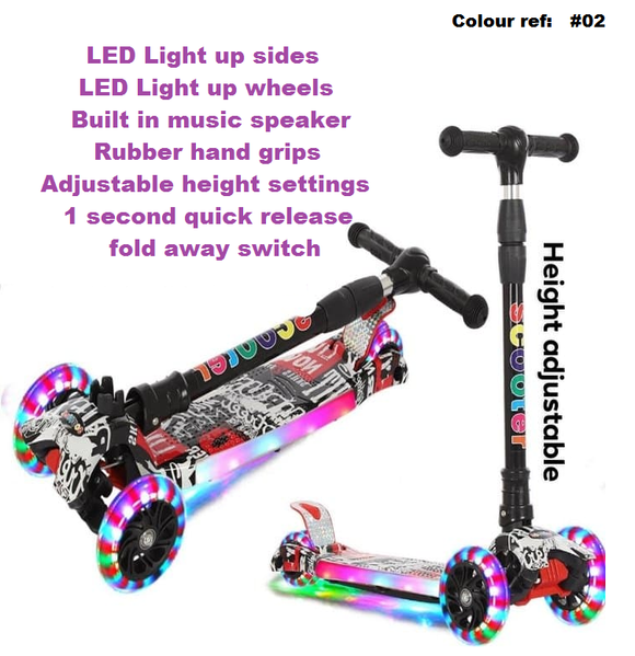 kids scooter + LED Lights + Music Speaker #02