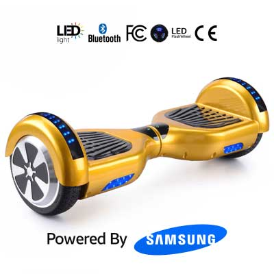 Gold Smart Hoverboard + Bluetooth + Remote + Flashing L.E.D Lights