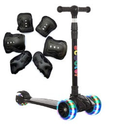 Black kids scooter + LED Lights + Music Speaker
