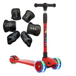 Kids L.E.D light Up Scooter with music speaker RED