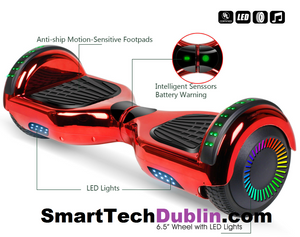 Metalic RED Smart Hoverboard + Bluetooth + Remote + Flashing L.E.D Lights + L.E.D Wheels