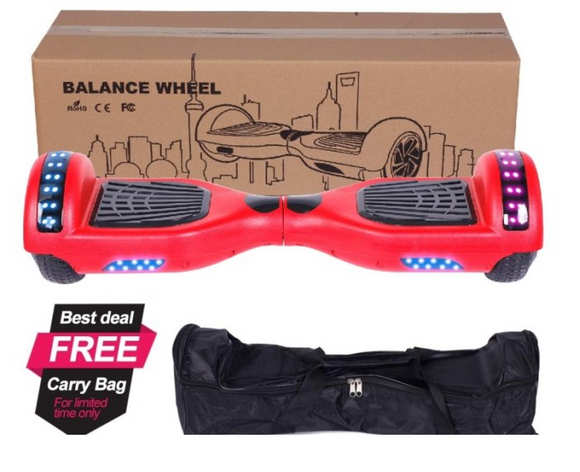 Red Hoverboard with top lights + carry bag