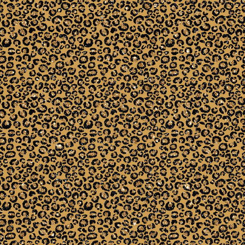 Leopard Skin Printed Adhesive Vinyl - Gold Sparkle Small Spots