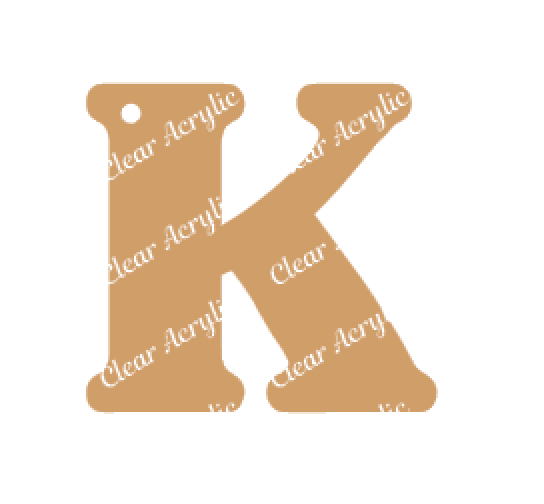 Alphabet Letter K Clear Acrylic Blank for Keychain Ornaments