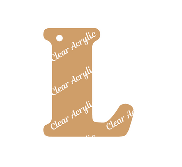 Alphabet Letter L Clear Acrylic Blank for Keychain Ornaments
