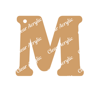 Alphabet Letter M Clear Acrylic Blank for Keychain Ornaments