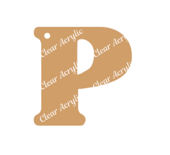 Alphabet Letter P Clear Acrylic Blank for Keychain Ornaments