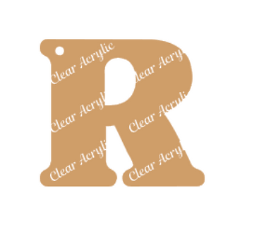 Alphabet Letter R Clear Acrylic Blank for Keychain Ornaments