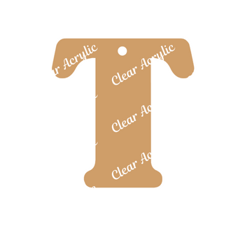 Alphabet Letter T Clear Acrylic Blank for Keychain Ornaments
