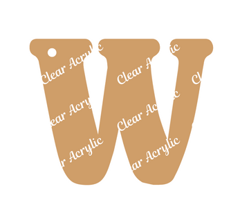 Alphabet Letter W Clear Acrylic Blank for Keychain Ornaments