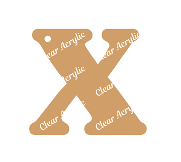 Alphabet Letter X Clear Acrylic Blank for Keychain Ornaments