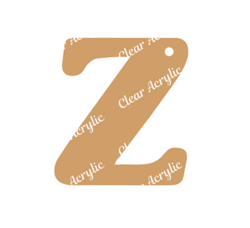 Alphabet Letter Z Clear Acrylic Blank for Keychain Ornaments
