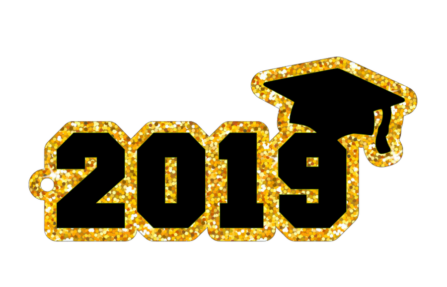 Acrylic Keychain Blank shaped as 2019 Graduation with Cap