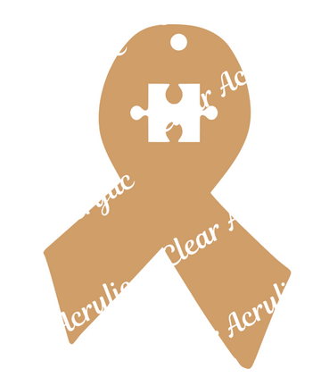 Autism Awareness Ribbon Acrylic Blank