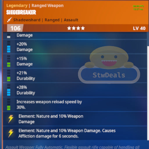 NEW 8 PERK DOUBLE NATURE SIEGEBREAKER Pl 106 MODDED WEAPON 39.9/448 DURABILITY