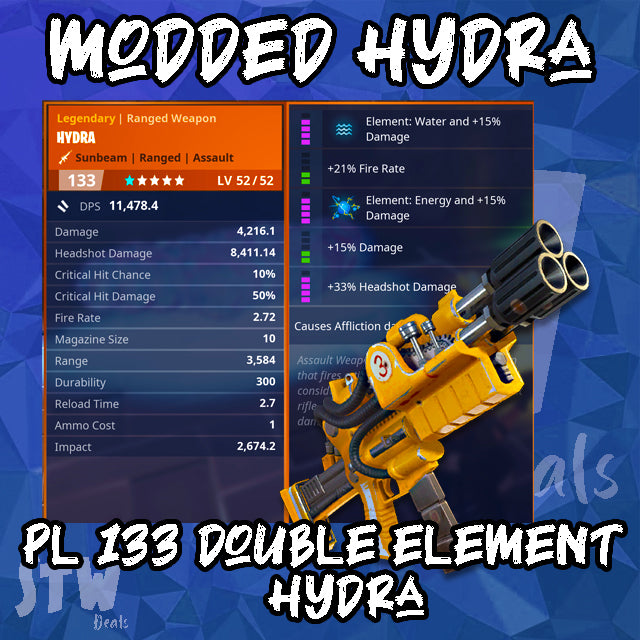 NEWEST SUPERCHARGED MODDED  133 DOUBLE ELEMENT WATER/ENERGY Hydra - Random Perk - Max Perks Hydra