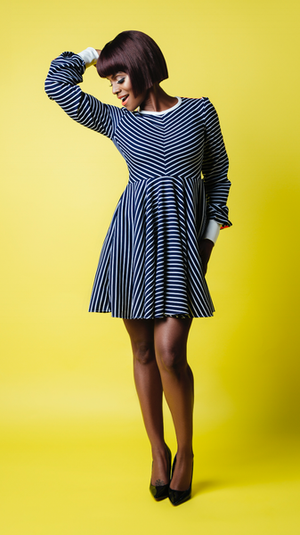 RA Striped Fit + Flared Dress