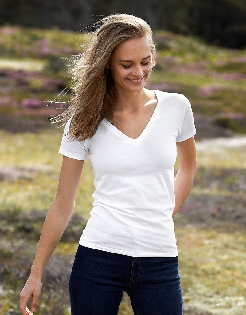 O81015 LADIES DEEP V-NECK T-SHIRT