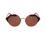 Round Rose Gold Metal Wood Sunglasses