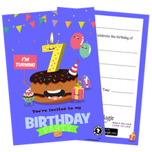 7th Birthday Party - Blue Invitations - Pack of 10