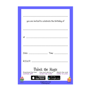 8th Birthday Party - Blue Invitations - Pack of 10