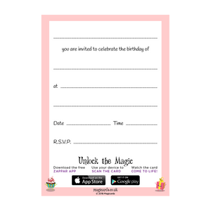 3rd Birthday Party - Pink Invitations - Pack of 10