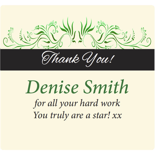 Thank You - Floral Green - Corking Idea