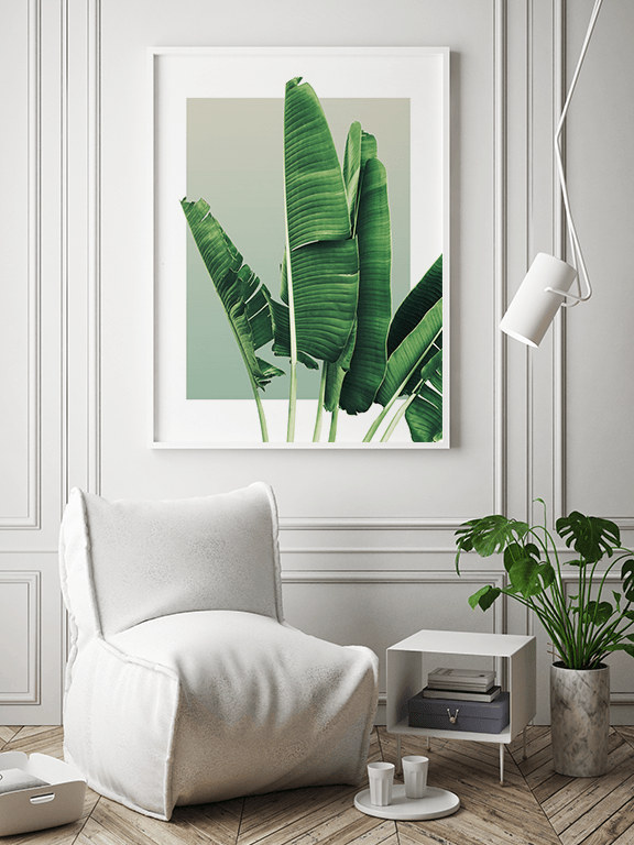 Banana Leaves Wall Art in Olive - PRRRINT