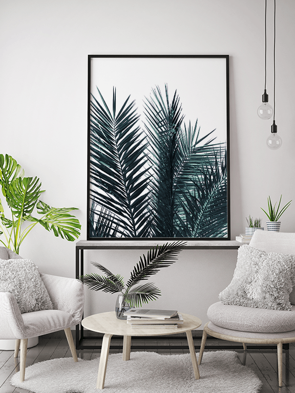 Blue Palm Leaves No2 Print - PRRRINT
